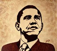 Barack Obama original coffee painting