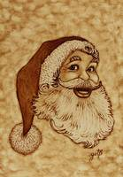 Santa Claus Joyful Face original coffee painting