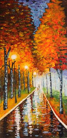 Park Night Lights acrylic palette knife painting