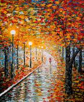 Rainy Autumn Day original palette knife painting
