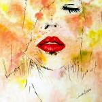"""OP-018 Lady in Red Lips"" by cneartgallery"