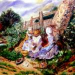 """AP-010 Three Girls Reading at the Garden"" by cneartgallery"