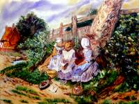 AP-010 Three Girls Reading at the Garden