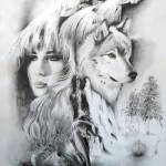 """Lady and Wolf"" by cneartgallery"
