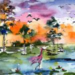 """Wetland Landscape Spoonbill Panoramic Watercolor"" by GinetteCallaway"