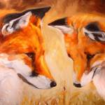 """TWO FOX and a LADYBUG"" by MBaldwinFineArt2006"