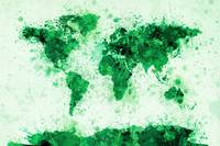 World Map Paint Splashes Green