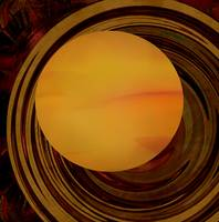 Planetary Sound Waves-Amber orange copper