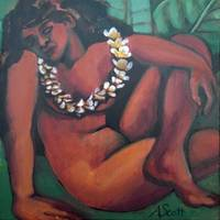 Young Hawaiian Girl with Green Leaves