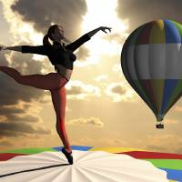 Sky Dancer on Pointe Atop Hot Air Balloon Art Prints & Posters by Andre Price