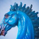 """DIA Blue Mustang Bronco Portrait"" by lightningman"