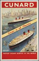 Cunard Vintage Travel Poster Ad Retro Prints