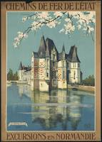 Excursions en Normandie Vintage Travel Poster Ad R