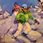 """Ski Daze"" by jacquelinebrewerart"