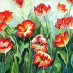 """Red & White Parrot Tulips"" by BCArt"
