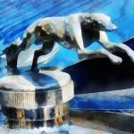 """Lincoln Greyhound Hood Ornament"" by susansartgallery"