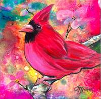 Pink Cardinal for my Love, Art by GG Burns