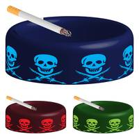 ashtray with skuls and cigarette