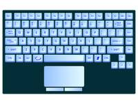 laptop blue keyboard against white