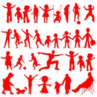peoples red silhouettes isolated on white backgrou