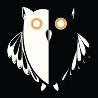 Retro owl in the night, vector illustration