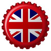 united kingdom stylized flag on bottle cap