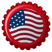 united states stylized flag on bottle cap