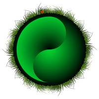 yin yang sphere with grass
