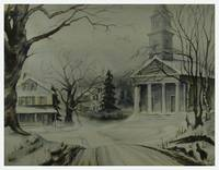 Winter Church Landscape Painting, 1963