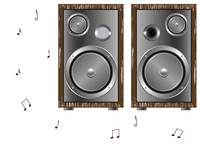 wooden speakers against white