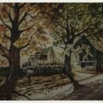 """Rojo watercolor of Barnyard Landscape 1962"" by CuriousEye"