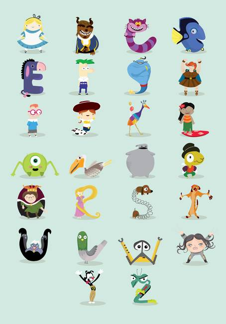 9 Letter Cartoon Characters : Disney characters abc by mj da luz