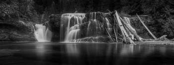 Lower Falls, Mt St Helens, Black and White
