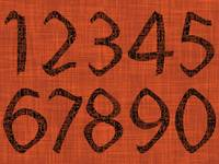 abstract numbers over orange texture