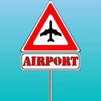 airport sign and blue sky background