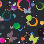 """butterflies and bubbles in retro colors"" by robertosch"