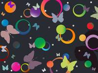 butterflies and bubbles in retro colors
