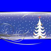 christmas tree card on blue background