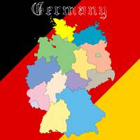 germany map over national colors