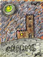 charms castle magical realm drawing in crayon