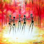 """Skeletons dancing in a Autumn Ring"" by HCalderon"