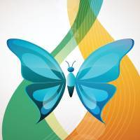 Pretty Blue Butterfly On An Abstract Background Art Prints & Posters by Anne Marie Baugh