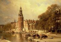 View of the Kalk Market, Amsterdam (oil on canvas)