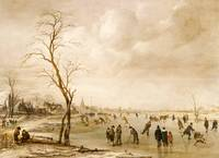 A Winter Landscape with Townsfolk Skating and Play