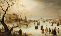 A A Winter River Landscape with Figures on the Ice