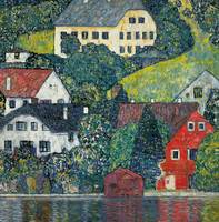 Houses at Unterach on the Attersee, c.1916 (oil on
