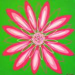 """Lime and Pink Flower"" by ckjonesart"