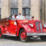 """Vintage Fire Truck"" by susansartgallery"