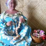 """Old Hawaiian Woman Making Leis-Doll Art"" by patriciamalone"