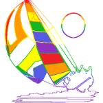 """Rainbow Sail Boat"" by refinish69"
